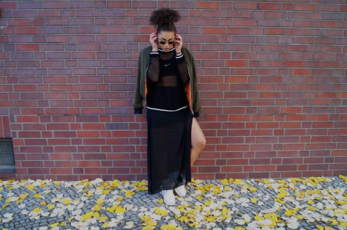Bomber Jacket: Parisian Collection | Mesh Top: Sweewë | SportsBra: Nike| Slotted Skirt: H&M | Cut Out Boots: Jeffrey Campbell|