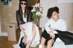 ALBINA: Dress: Damur   Shoes: Damur   Blouse: Mozcau   Sunglasses: Woody   JULIA: Pullover: 8MN   Dress: est by es  Bag: Damur   available at Rauch und Groen Slow Fashion Berlin